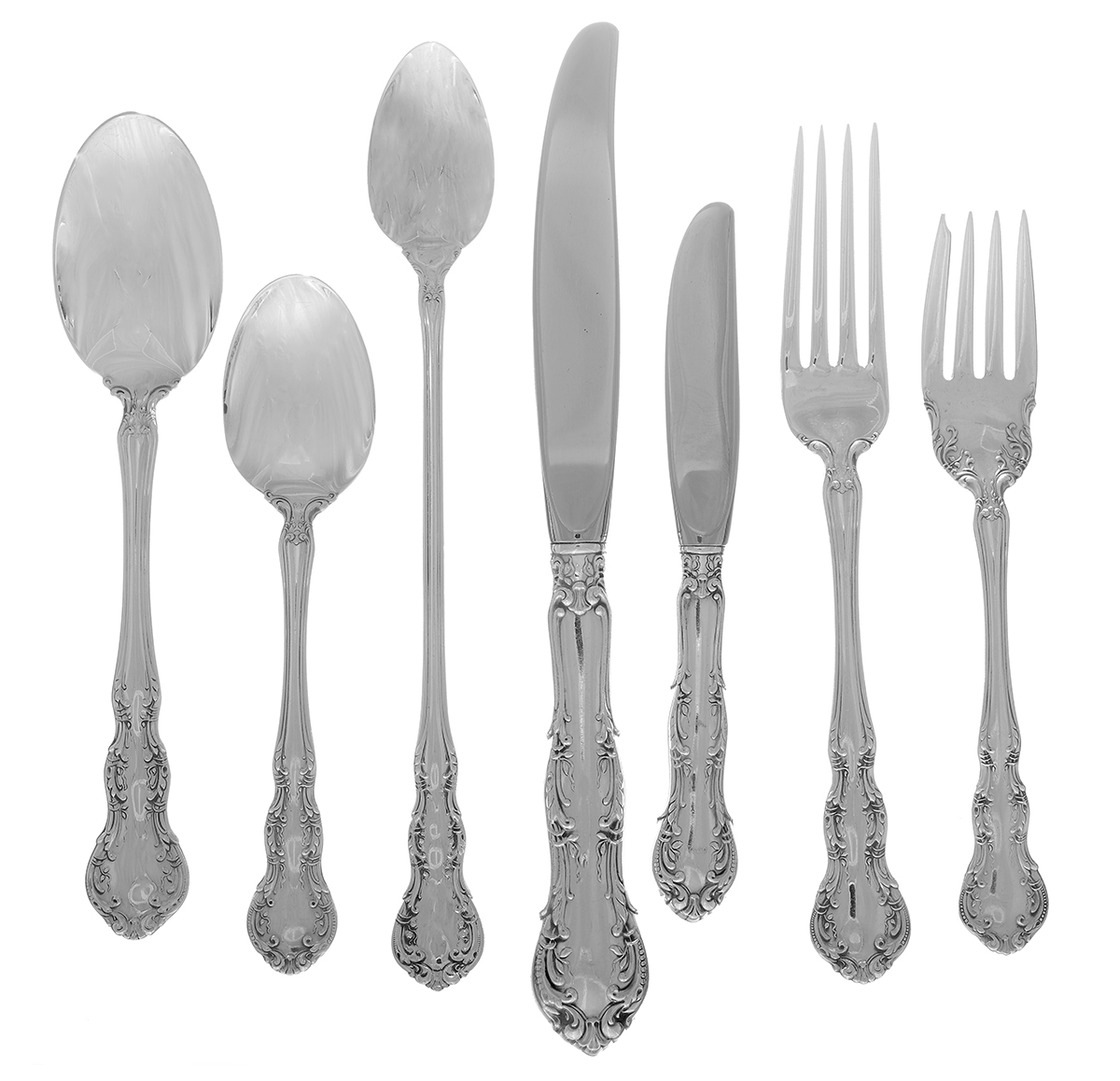 1888 Shiebler Rococo Sterling Silver Teaspoons w// Monogram One 1 5 Available