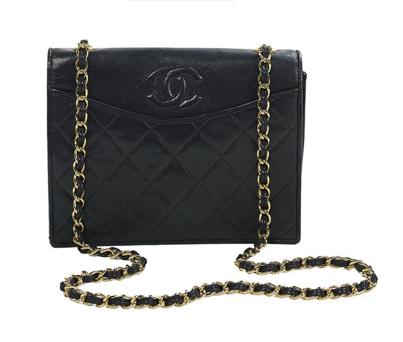 78dbb7c1f02863 Vintage Chanel, Paris, Black Part-Quilted Lambskin Foldover Shoulder Bag