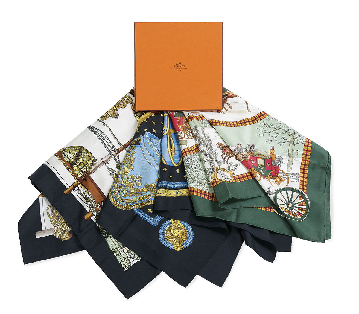 Collection of Three Vintage Hermes Silk Scarves